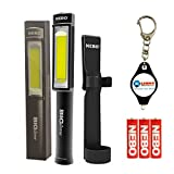 BUNDLE: Nebo Big Larry COB LED Work Light BLACK SILVER RED or CAMO with Holster and LightJunction KeyChain Light (Black)