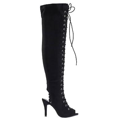 d60f38f8fd Aquapillar OTKH- F9 Black Over Knee/Thigh High Corset Lace Up Boots, Womens