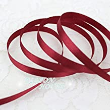 "FunnyPicker (25 Yards/Roll ) 1/4"" (6Mm) Wine Red Single Face Satin Ribbon Webbing Decoration Gift Christmas Ribbons Wholesale"