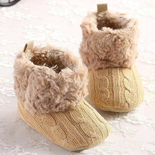 Moda infantil bebé niñas suave antideslizante cálido botas de zapatos de Prewalker cuna rosa rosa Talla:12 cm marrón