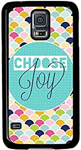 Choose Joy Colorful Samsung Galaxy S5 Case Pattern Monogram Durable Protective Case for Black Cover Skin - Compatible With Samsung Galaxy S5 SV i9600