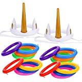 GROBRO7 18Pcs Unicorn Ring Toss Pool Game for Party Inflatable Floating Party Favor Unicorn Party Supplies Decoration for Kids Funny Family Indoor Outdoor Game Set