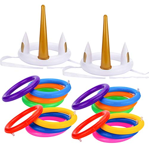 GROBRO7 18 Pcs Unicorn Ring Toss Game for Party Inflatable Floating Swimming Ring Toss for Pool Party Favor Unicorn Party Supplies Decoration for Kids Funny Family Games -
