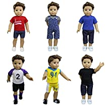 ZITA ELEMENT 6 Sets American Boy Clothes | Logan Outfits for 18 Inch Doll, Multi-Colored