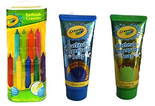 Bathtub Finger - Crayola Bathtub Crayons 9 ct + Crayola Bathtub Fingerpaint Soap 2 ct