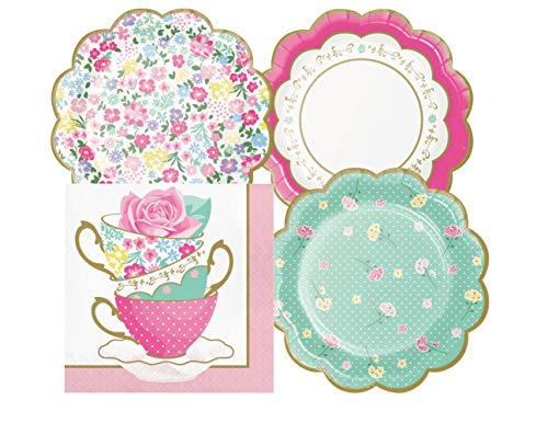 Floral Themed Tea Party Supply Pack Bundle Includes Paper Dessert Plates & Napkins for 16 Guests]()