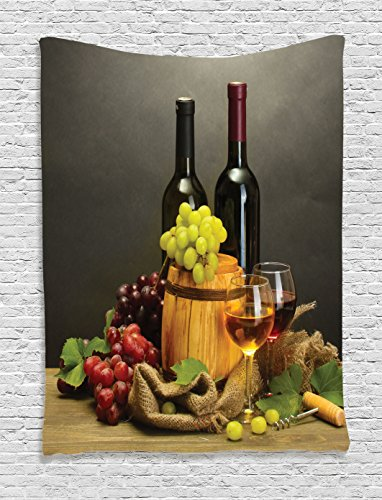Grape Tapestry (Winery Decor Tapestry by Ambesonne, Barrel, Bottles And Glasses Of Wine And Ripe Grapes On Wooden Table Decorative Picture, Bedroom Living Room Dorm Decor, 40 W x 60 L Inches, Multi)