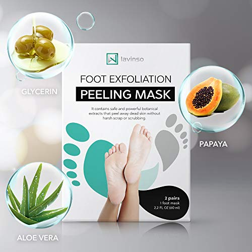 Foot Peel Mask 2 Pack, Peeling Away Calluses and Dead Skin Cells, Make Your Feet Baby Soft, Exfoliating Foot Mask, Repair Rough Heels, Get Silky Soft Feet through Lavinso