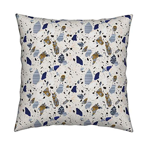 - Roostery Blue and Gray Terrazzo Linen Cotton Throw Pillow Cover Blue Terrazzo Home Decor Terrazzo Marble Stone Italian Mosaic Modern Home Decor Stones Abstract by Fossyboots Cover w Optional Insert