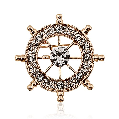 CHUYUN Crystal Ship Wheel Nautical Sea Brooch Pins for Women