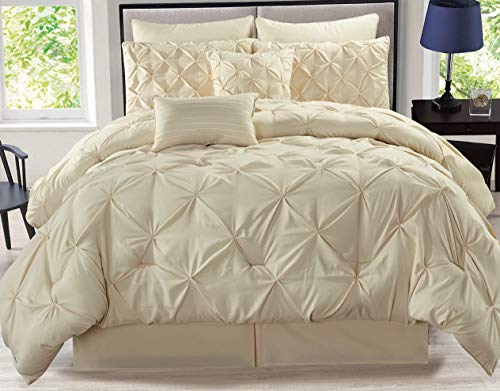 Hemau Premium New Soft 8 Piece Rochelle Pinched Pleat Ivory Comforter Set Cal King | Style 503192613