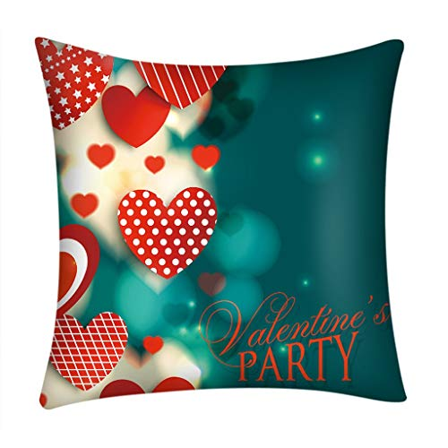 Littay Valentine's Day Print Pillow Case Polyester Sofa Car Cushion Cover Home Decor 17.72