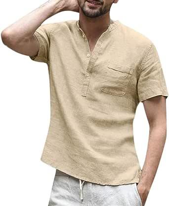 Alaso - Camiseta de Manga Corta para Hombre, Cuello tunecino, algodón y Lino, Color Liso, con Botones
