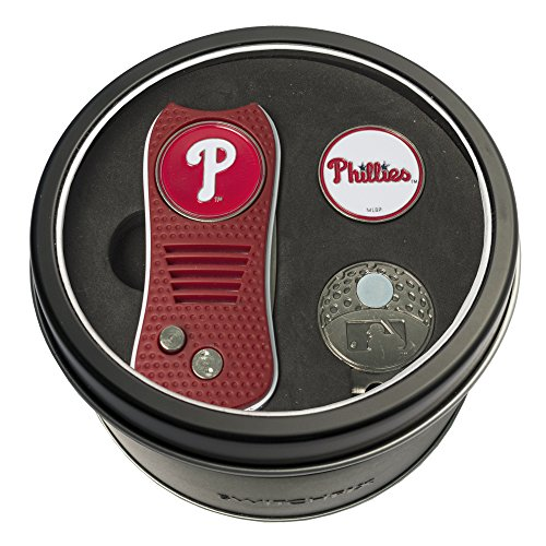 - Team Golf MLB Philadelphia Phillies Gift Set Switchblade Divot Tool, Cap Clip, & 2 Double-Sided Enamel Ball Markers, Patented Design, Less Damage to Greens, Switchblade Mechanism