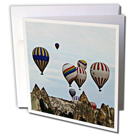 gc_184376_2 Sandy Mertens Outdoor Sports Designs - Hot Air Balloons Traveling Over the Wilderness Canvas Photo Print - Greeting Cards-12 Greeting Cards with envelopes
