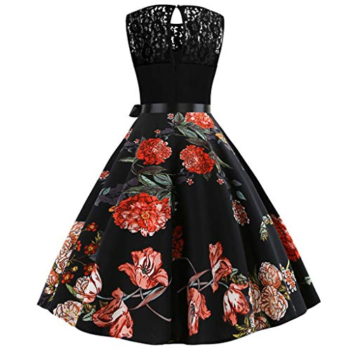 - Fastbot Women's Casual Short Sleeve T Shirt Dresses Vintage Less Lace Splice Print Evening Party Prom Swing Dress Black
