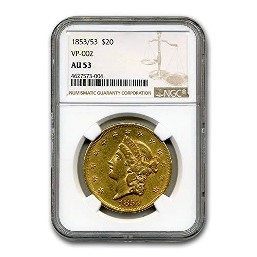 1853 53 $20 Liberty Gold Double Eagle AU-53 NGC (VP-002) G$20 AU-53 NGC