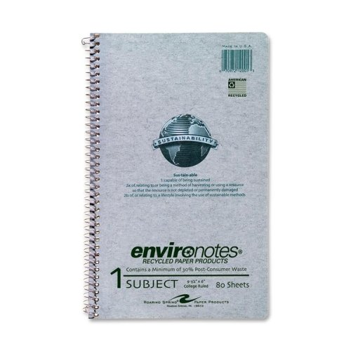 Wholesale CASE of 25 - Roaring Spring Environotes Wirebnd 1-Sub Notebook-Wirebound Notebook,1-Sub,College Ruled,80/Shts,9-1/2''x6'',GY by ROA