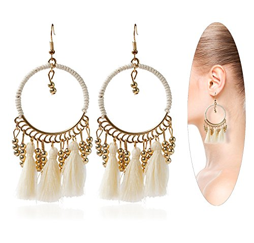 Eternity J. Women Ethnic Gold Beads Wool Tassel Drop Dangle Earrings Chandelier Eardrop