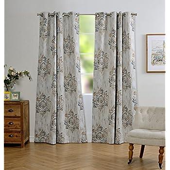 Amazoncom Venetian Damask Flock Faux Silk Curtain Panel 96 inch