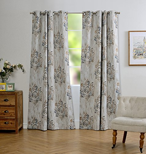 Mysky Home Dahlia Flower Damask Style Fashion Design Print Thermal Insulated Blackout Curtain with Grommet Top for Living Room, 52 by 84 inch, Brown - 1 Panel - Sliding Door China
