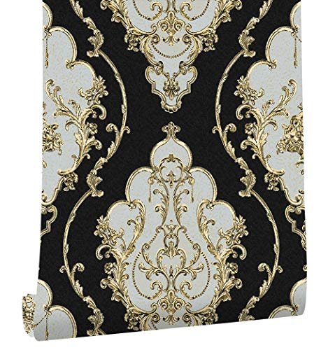 HaokHome 360207 Luxury Heavy Texture Victorian Damask Wallpaper Black/Gold/Brown/Silver for Home Accent Wall 20.8''x 31ft by HAOKHOME