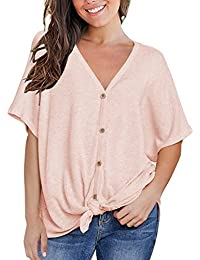 059460bd45f26 Womens Loose Blouse Short Sleeve V Neck Button Down T Shirts Tie Front Knot  Casual Tops