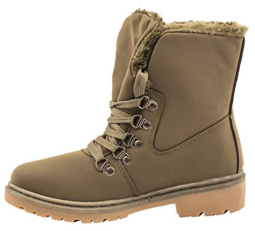 élara Femme Worker Boots | confortable chaud doublée Lacets | aspect cuir Dark Green Fashion Q7PnyGJL
