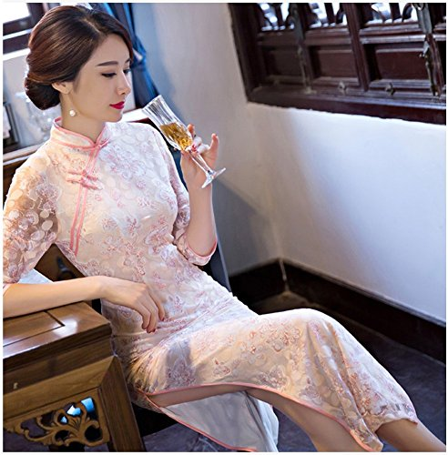 Sleeve Women's Lace Dress Cheongsam Maxi Angcoco 0449 Qipao China Half PvqwxR