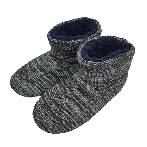 Mens Fuzzy Memory Foam Slipper Booties Soft Cozy Indoor House Shoes Midcalf Boots Non Slip