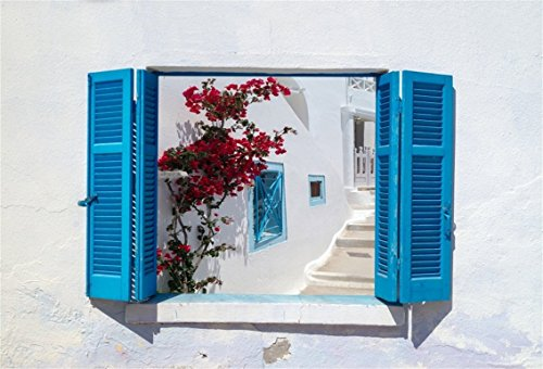 CSFOTO 5x3ft Background for Blue Shutters Opened View Photography Backdrop Traditional Architecture of Oia Village Landmark Mediterranean Resort Vacation Tour Photo Studio Props Polyester Wallpaper