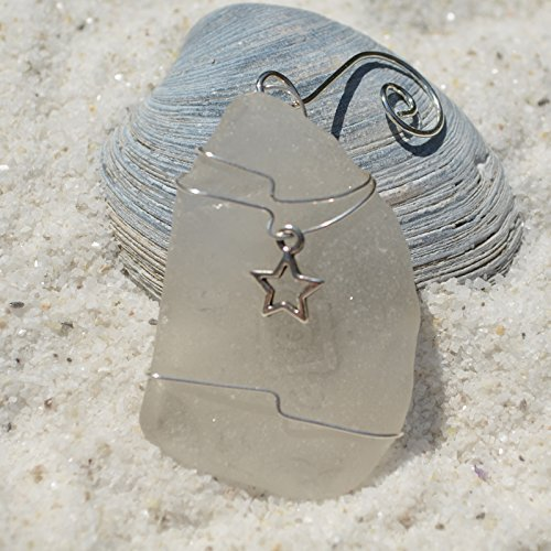 Custom Surf Tumbled Sea Glass Ornament with a Silver Star Charm - Choose Your Color Sea Glass Frosted, Green, and Brown.