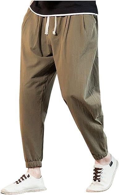 Pantaloni Harem Uomo Larghi Lino,Homebaby Vintage Sportivo