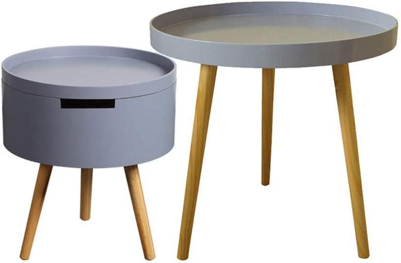 Verhandelbaar Caim Ronde salontafel/houten bijzettafel, salontafel met opbergbak, afneembare reistafel, geschikt voor woonkamer, slaapkamer, kantoor White+yellow rBqZNNJ