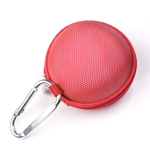 Case Star ® Red Earphone handsfree headset HARD EVA Case - Clamshell/MESH Style with Zipper Enclosure, Inner Pocket, and Durable Exterior + Silver Climbing Carabiner With Case star cellphone bag