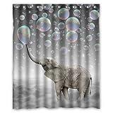 Custom Cute animal Elephant Shower Curtain 36' x 72' Waterproof Polyester Fabric Shower Curtain