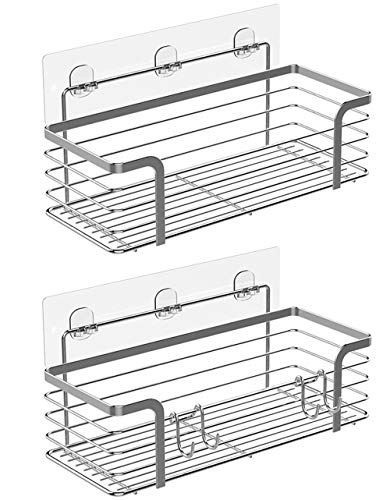 KESOL Adhesive Shower Shelf Bathroom Organizer Shower Caddy Wall Basket for Bathroom and Kitchen, SUS304 Stainless Steel, No Drilling- 2 ()