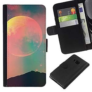 KingStore / Leather Etui en cuir / HTC One M7 / Espace Teal Rose Nature Nuit