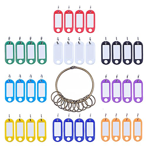 Antner 36 Pieces Key ID Tags Luggage Fob Pet Labels with Split Ring Keyring and Retro Keychain,9 Colors (Key Top Labels)
