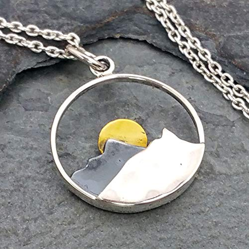 Mountain Range with Bronze Sun Necklace - 925 Sterling Silver