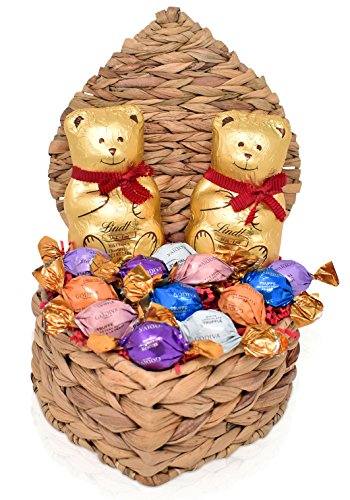 LINDT & GODIVA Valentine's Day Chocolate Variety Gift Pack in Heart Shaped Gift Basket - 2 Jumbo Teddy Bears 3.5 oz each - Assorted Godiva Truffles