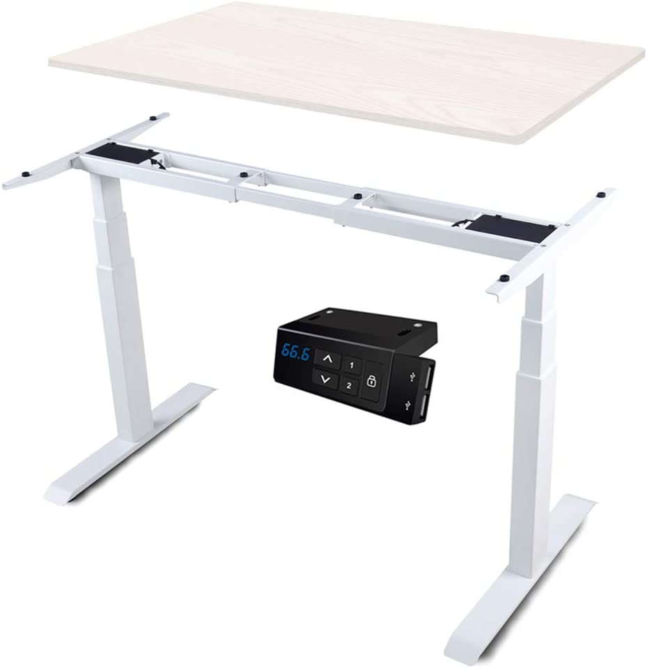 HAIAOJIA Electric Stand up Desk Frame Workstation, Dual Motor Ergonomic Electric Standing 3-Stage Lifting Columns Height Adjustable Base with Memory Controller - Frame Only