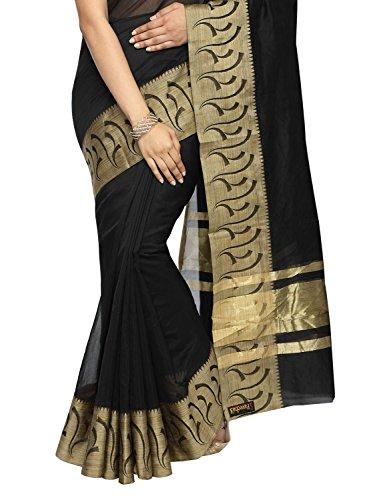 Pavecha's Women's Banarasi Silk Cotton Blend Zari Casual Saree Free Size Black by Pavecha's (Image #2)