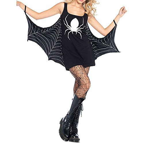 SEBOWEL Ladies Cool Halloween Sleeveless Spiderweb Cosplay Costumes Dress Black M
