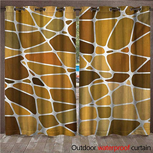 d Brown Outdoor Curtain for Patio Stained Glass Style Mosaic with Colorful and Abstract Pieces Fractal Pattern W72 x L84(183cm x 214cm) ()