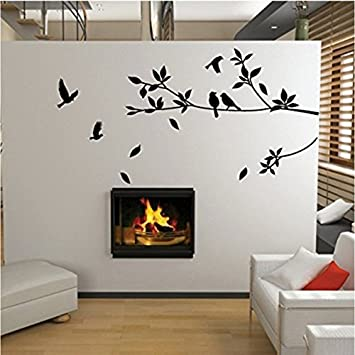 Tree And Bird Wall Stickers / Decals (Black) Part 49