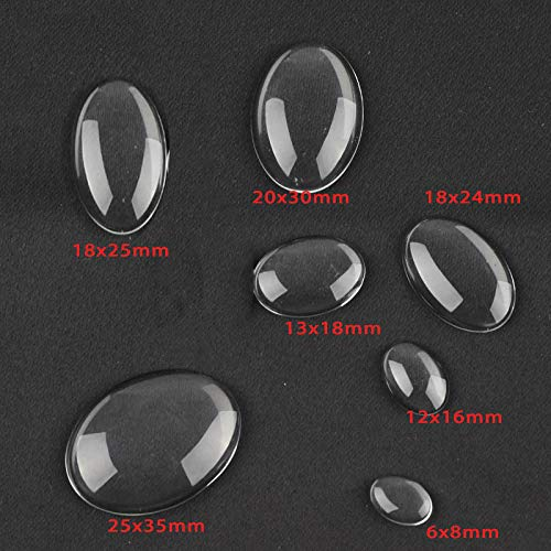 (Kamas 1318mm Oval Glass Cabochon Transparent for Cameo Necklace Pendant Making DIY Demo Ring Brooch Earring Jewelry Findings Supplier - (Size: 13x18mm) )