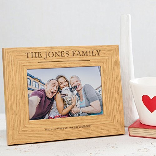 Personalized Family Picture Frame - Photo Frame Gift - 4x6 7x5 or 8x6 Wooden Frames available - Engraved with Family Name and Optional Customized Message