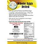 Judee's Whole Egg Powder (11 oz)(Non-GMO, Pasteurized, Made in USA, 1 Ingredient no additives, Produced from the… 7 11.5 OZ 100% pure whole egg product, pasteurized, non-gmo, Humanely Produced from UEP certified egg farmers in the USA No additives, only 1 ingredient; Whole Eggs. Produced from the freshest eggs less than 30 days old. Packaged in a Stand-up foil lined pouch, sealed with an oxygen absorber for freshness and longer shelf life Enjoy eggs any time you want. Perfect for outdoor preparation, camping and hiking. Just add 2 tablespoons whole dried eggs to 2 tablespoons water and mix and you have an equivalent of 1 fresh egg
