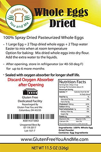 Judee's Whole Egg Powder (11 oz)(Non-GMO, Pasteurized, Made in USA, 1 Ingredient no additives, Produced from the… 1 11.5 OZ 100% pure whole egg product, pasteurized, non-gmo, Humanely Produced from UEP certified egg farmers in the USA No additives, only 1 ingredient; Whole Eggs. Produced from the freshest eggs less than 30 days old. Packaged in a Stand-up foil lined pouch, sealed with an oxygen absorber for freshness and longer shelf life Enjoy eggs any time you want. Perfect for outdoor preparation, camping and hiking. Just add 2 tablespoons whole dried eggs to 2 tablespoons water and mix and you have an equivalent of 1 fresh egg